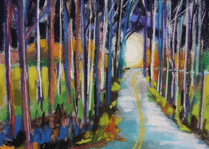 Trees Greeting Card featuring the painting Moonlight Glimpse by John Williams