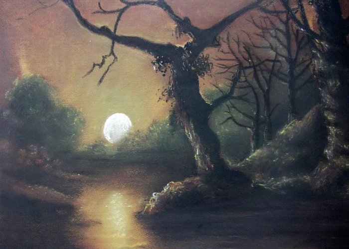Landscapes In Pastel Greeting Card featuring the drawing Moonlight Harmony by Leela Muthu