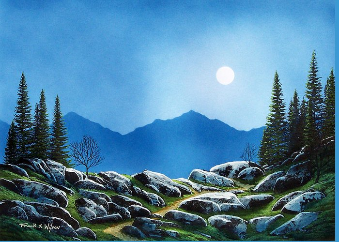 Landscape Greeting Card featuring the painting Moonlight Hike by Frank Wilson