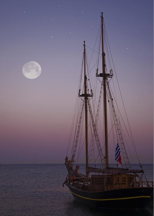 Mediterranean Greeting Card featuring the photograph Moonlight In The Med by Mark H Roberts