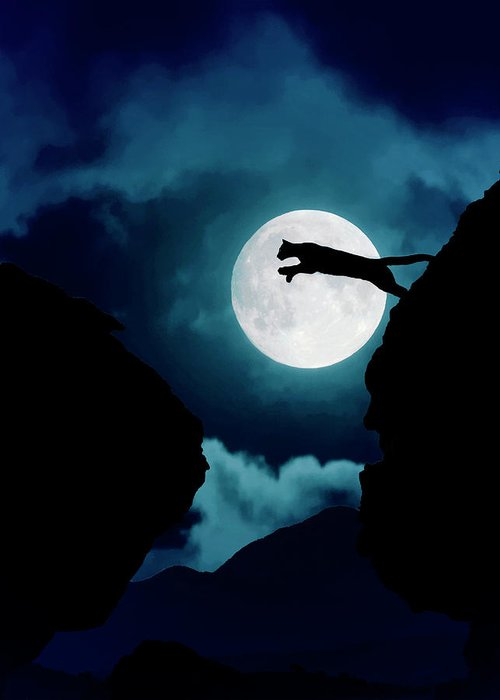 Mountain Lion Greeting Card featuring the photograph Moonlight Leap by Roy Nierdieck