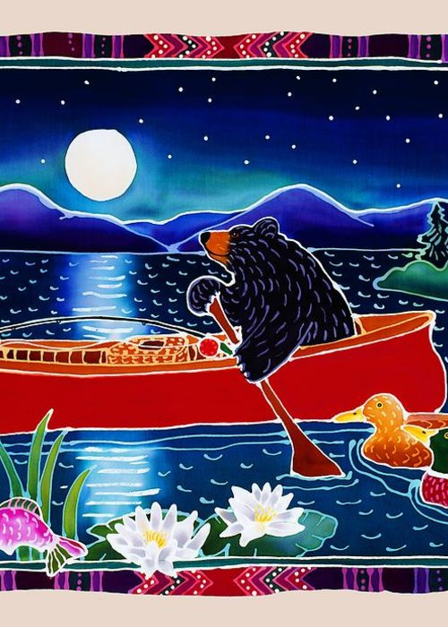 Whimsical Greeting Card featuring the painting Moonlight On A Red Canoe by Harriet Peck Taylor