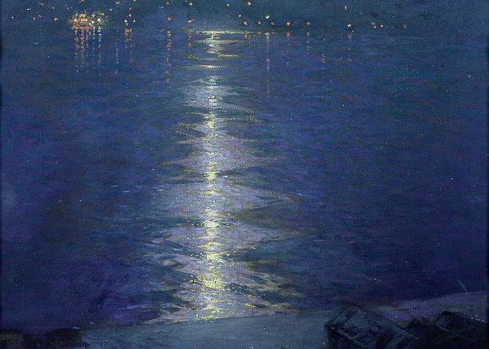 Moonlight On The River Greeting Card featuring the painting Moonlight On The River by Lowell Birge Harrison