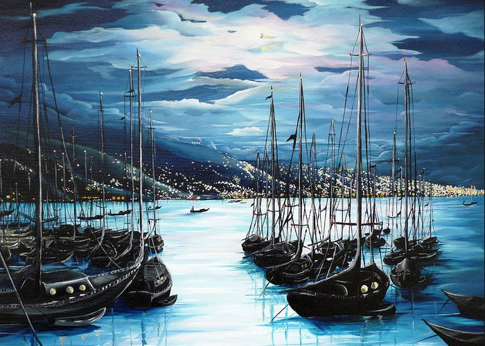 Port Paintings Greeting Cards