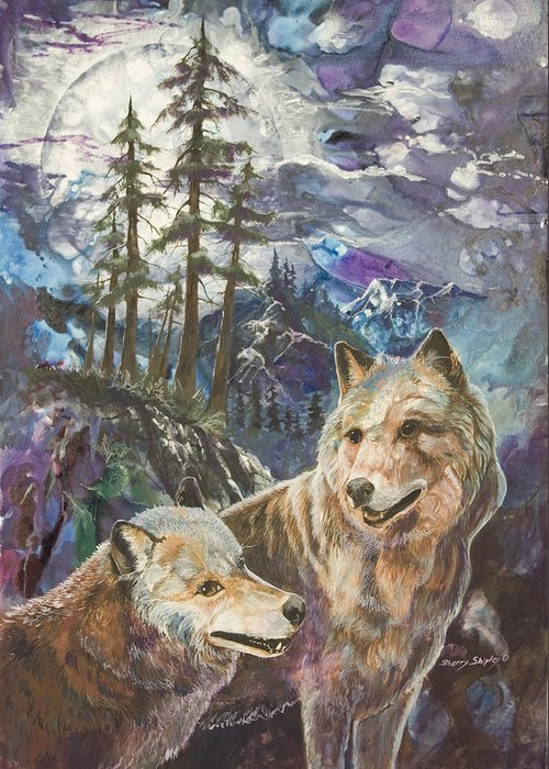 Wolf Greeting Card featuring the painting Moonlight Rendezvous by Sherry Shipley