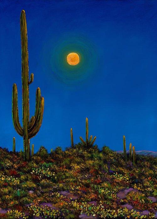 Arizona Greeting Card featuring the painting Moonlight Serenade by Johnathan Harris