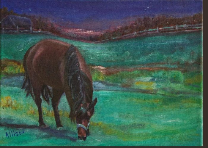 Horse Greeting Card featuring the painting Moonlight Snack by Stephanie Allison