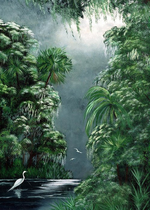 Swamp Greeting Card featuring the painting Moonlight Swamp by Darlene Green