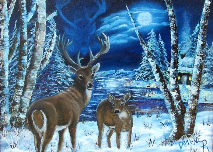 Deer Greeting Card featuring the painting Moonlight Walk by Darlene Green