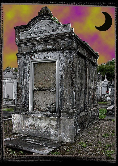 New Orleans Greeting Card featuring the photograph Moonlit Cemetary by Linda Kish