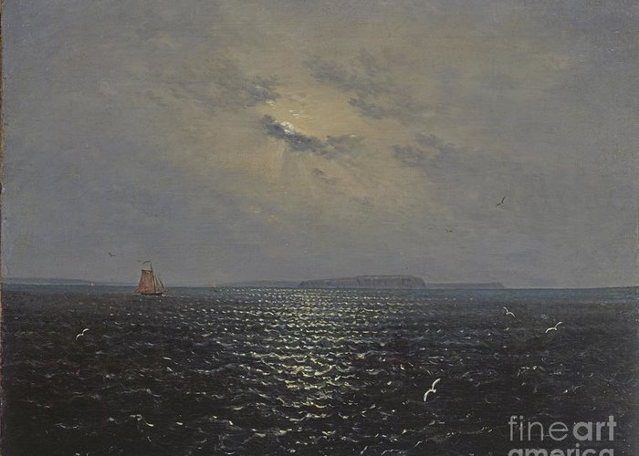 Seascape;night;nocturne;moon;moonlight;ship;sailing;solitary;calm;peaceful;atmospheric;romantic;romanticist;waves;seagulls;baltic Sea;island Greeting Card featuring the painting Moonlit Night By Ruegen by Celestial Images