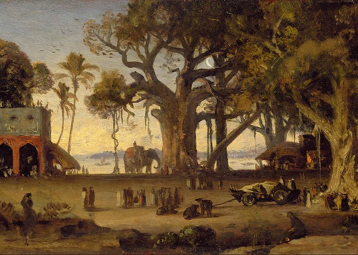 Moonlit Greeting Card featuring the painting Moonlit Scene Of Indian Figures And Elephants Among Banyan Trees by Johann Zoffany