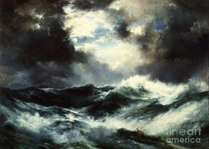 Moonlit Shipwreck At Sea Greeting Card featuring the painting Moonlit Shipwreck At Sea by Thomas Moran