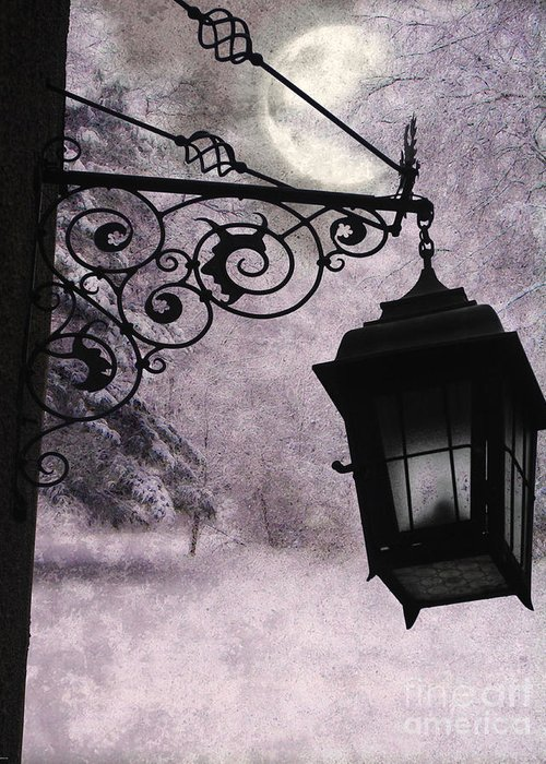 Moon Nature Snow Lamplight Lantern Forest Tavern Emo Winter Lavender Black Moody Greeting Card featuring the mixed media Moonlit by Tammera Malicki-Wong