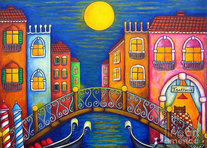 Venice Greeting Card featuring the painting Moonlit Venice by Lisa Lorenz