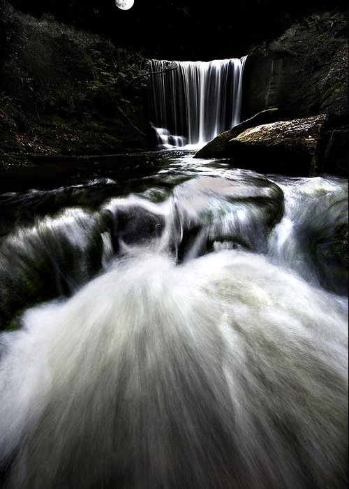 Moon Greeting Card featuring the photograph Moonlit Waterfall by Meirion Matthias