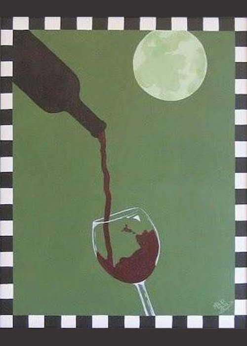 Home Deco Wine Drawings Greeting Cards