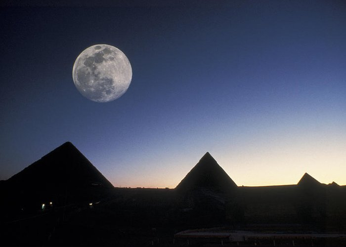 Pyramid Greeting Card featuring the photograph Moonrise Above Giza Pyramids In Egypt by Richard Nowitz