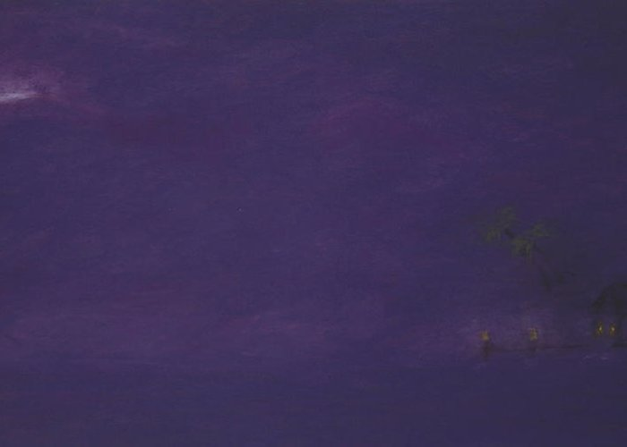 Purple Greeting Card featuring the pastel Moonrise by Amanda Clark