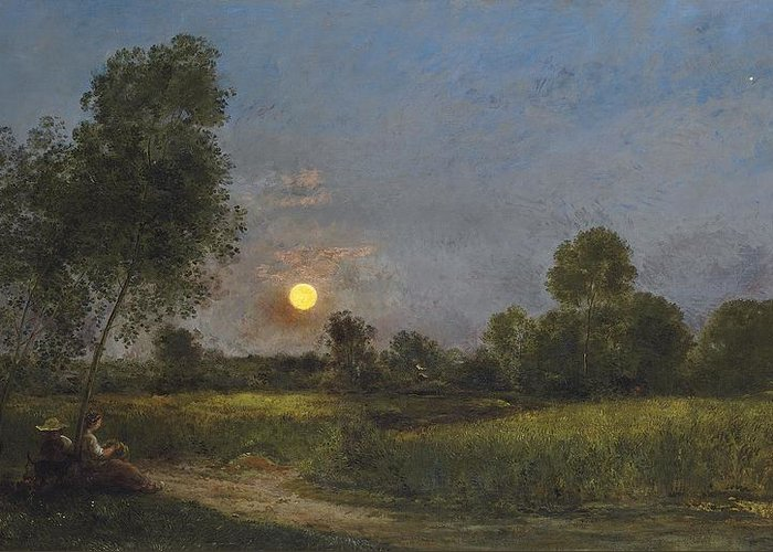 Moonrise Greeting Card featuring the painting Moonrise by Charles Francois Daubigny