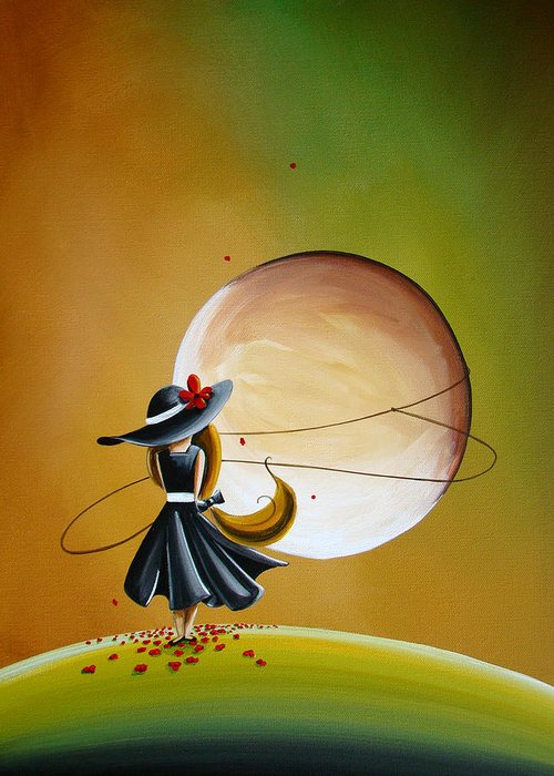 Girl Greeting Card featuring the painting Moonrise by Cindy Thornton