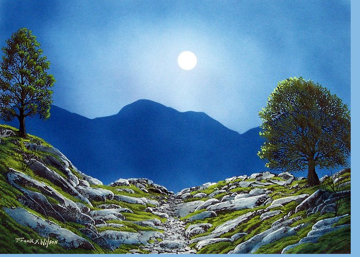 Landscape Greeting Card featuring the painting Moonrise by Frank Wilson