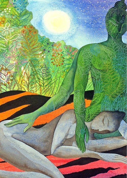 Moon Jungle Forestspirit Magical Mysterious Tropical Greeting Card featuring the painting Moonrise by Jennifer Baird