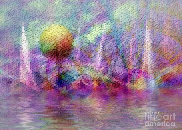 Moonrise Greeting Card featuring the digital art Moonrise on Orchid Bay by Carolyn Staut