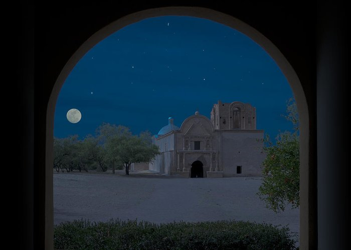 Southwest Greeting Card featuring the photograph Moonrise On Tumacacori Mission by Sandra Bronstein