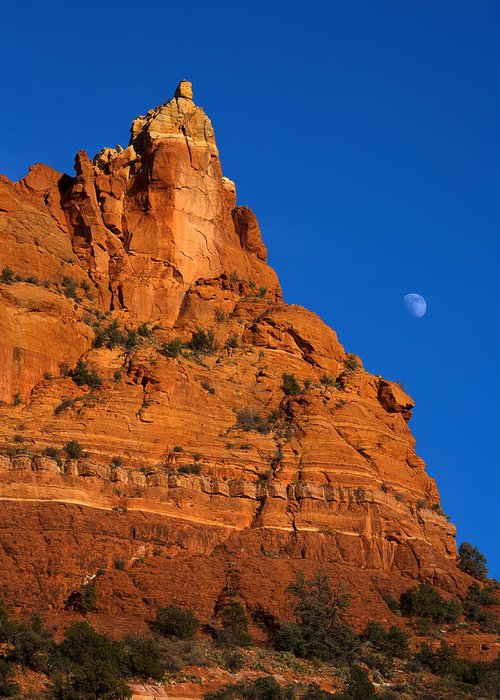 Moonrise Greeting Card featuring the photograph Moonrise Over Red Rock by Mike Dawson
