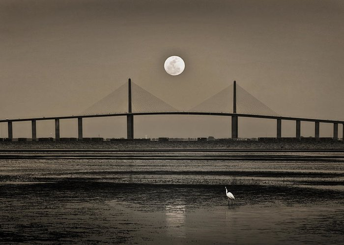 Moon Greeting Card featuring the photograph Moonrise Over Skyway Bridge by Steven Sparks