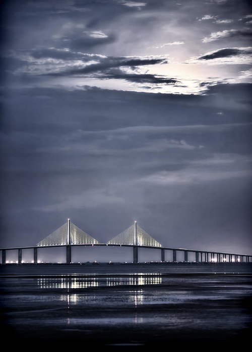 Moon Greeting Card featuring the photograph Moonrise Over Sunshine Skyway Bridge by Steven Sparks