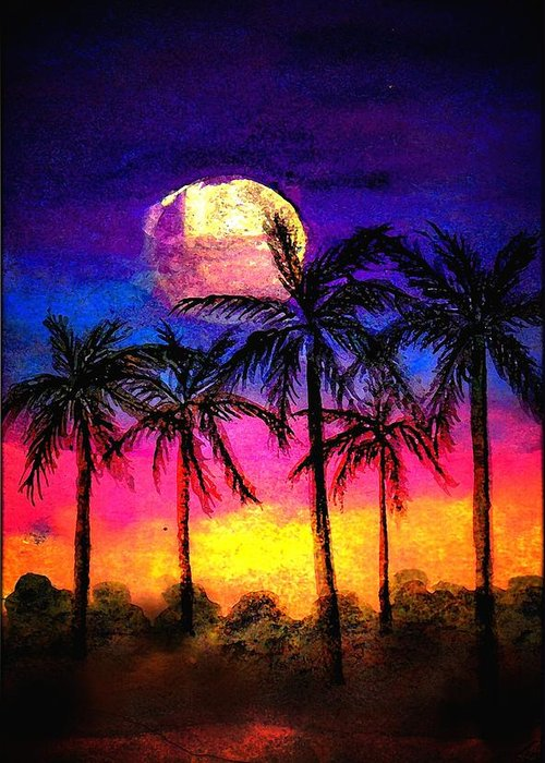 Silhouette Greeting Card featuring the painting Moonrise Over The Tropics by Dina Sierra