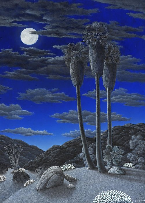 Desert Greeting Card featuring the painting Moonrise by Snake Jagger