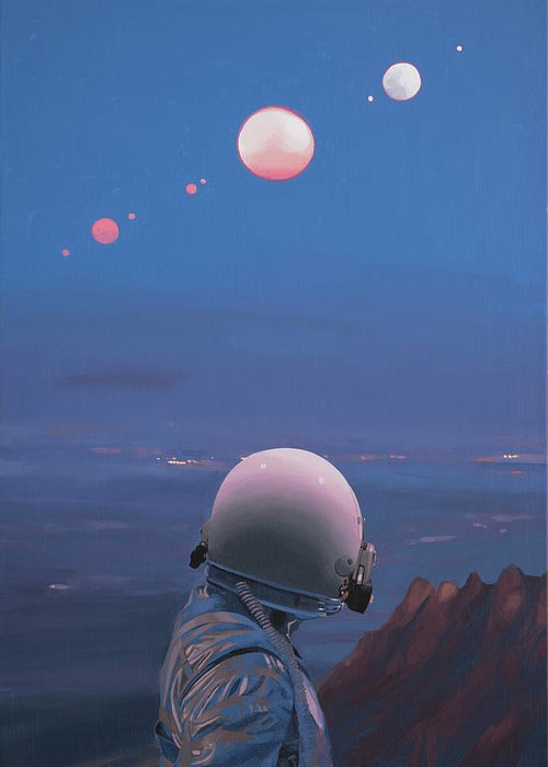 Astronaut Greeting Card featuring the painting Moons by Scott Listfield