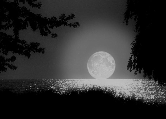 Moon Greeting Card featuring the photograph Moonset On Lake Erie by Kenneth Krolikowski