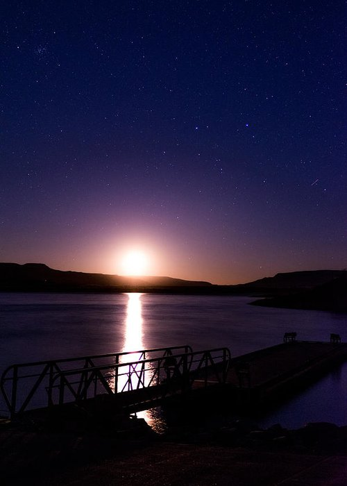Night Greeting Card featuring the photograph Moonset Over Abiquiu Lake by Bryan Layne