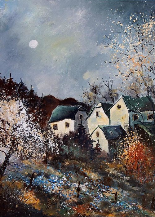 Village Greeting Card featuring the painting Moonshine by Pol Ledent