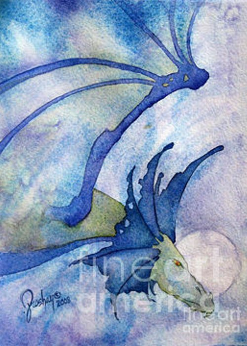 Dragon Greeting Card featuring the painting Moonstone Dragon - Sold by Wendy Froshay