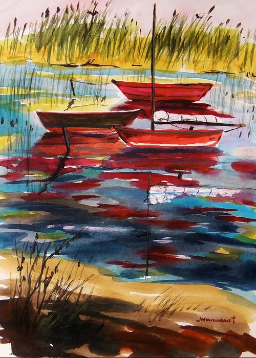 Watercolors Greeting Card featuring the painting Moored In The Cove by John Williams