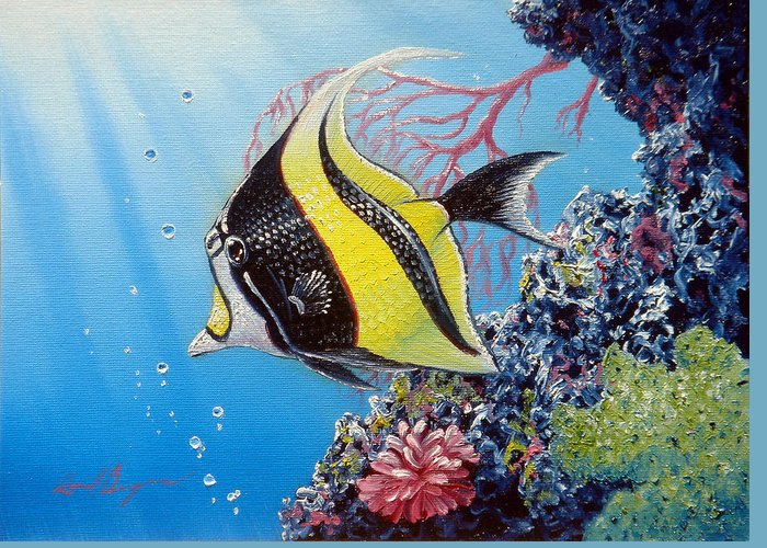 Fish Greeting Card featuring the painting Moorish Idol by Daniel Bergren