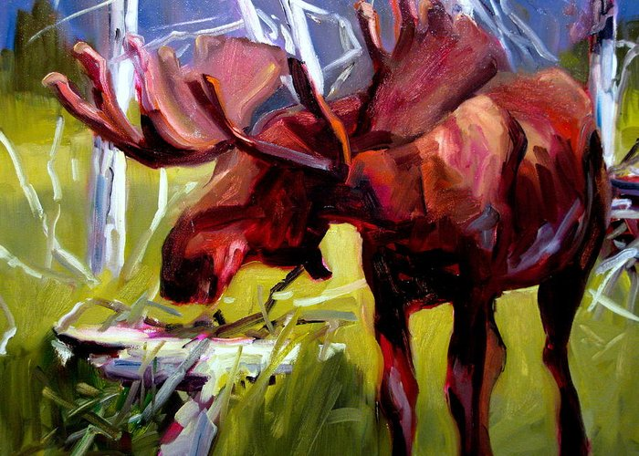 Moose Paintings Greeting Card featuring the painting Moose by Brian Simons