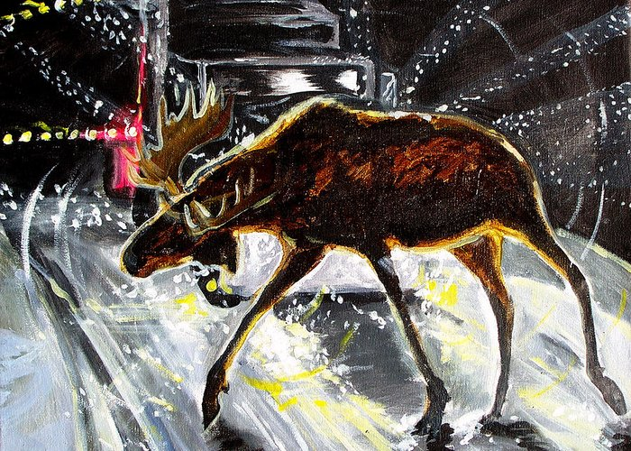 Moose Elk Deer Rig Truck Car Night Driving Snow Blizzard Dark Greeting Card featuring the painting Moose Crossing by Jenn Cunningham