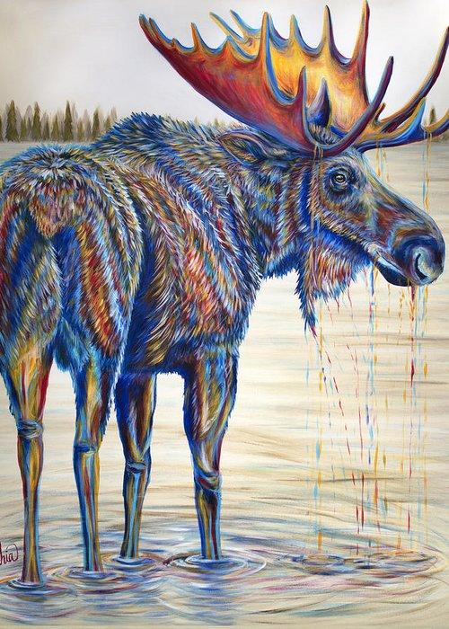 Moose In Water Greeting Cards