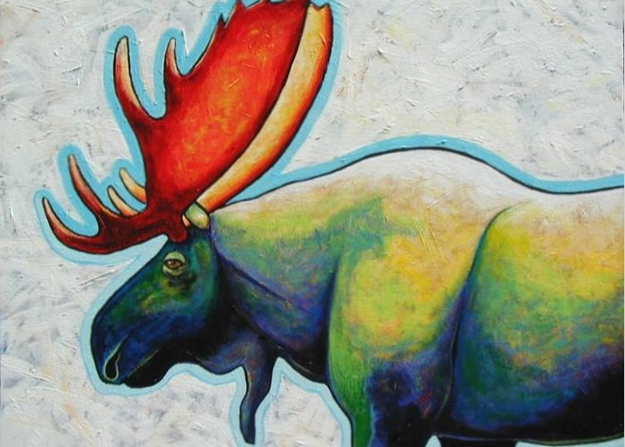 Wildlife Greeting Card featuring the painting Moose by Joe Triano