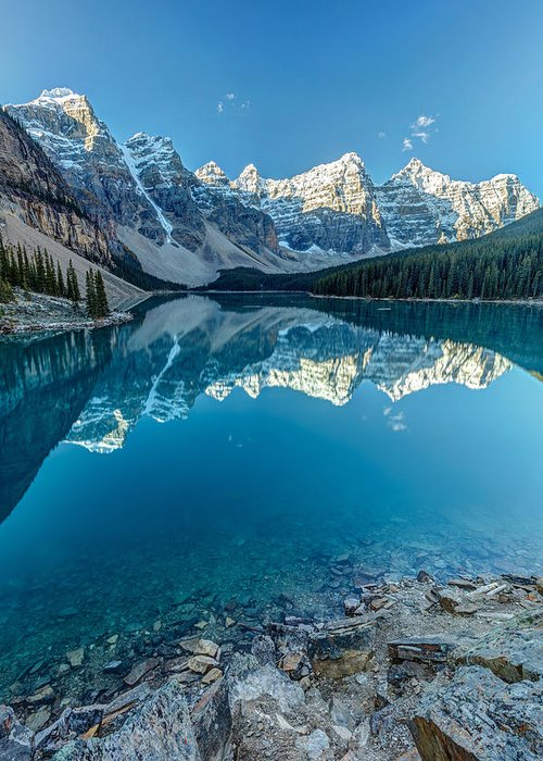 5dsr Greeting Card featuring the photograph Moraine Lake Blues by Pierre Leclerc Photography