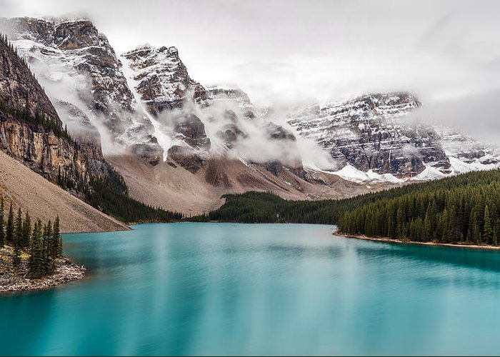 5dsr Greeting Card featuring the photograph Moraine Lake In The Clouds by Pierre Leclerc Photography