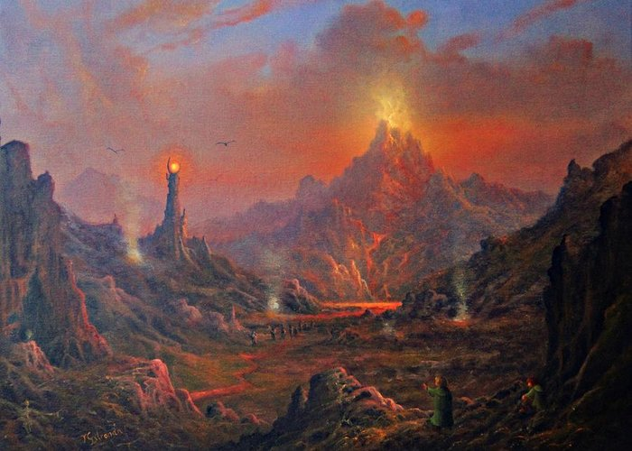 Tolkien Greeting Card featuring the painting Mordor Land Of Shadow by Joe Gilronan