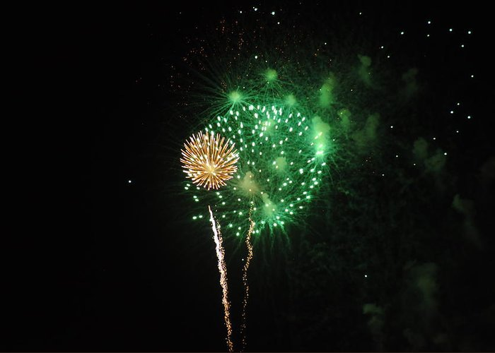 Green Greeting Card featuring the photograph More Fireworks by Brynn Ditsche