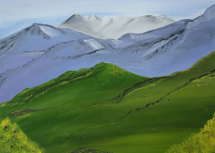 Landscape Greeting Card featuring the painting More Mountains by Liz Vernand
